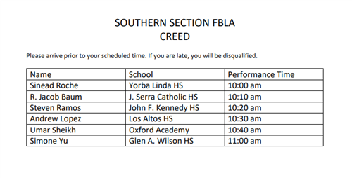 Creed Schedule
