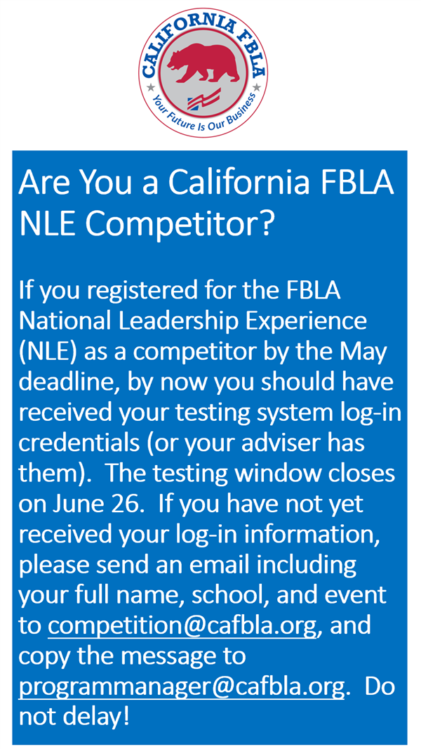 2020 FBLA National Leadership Experience (NLE)--CA Update