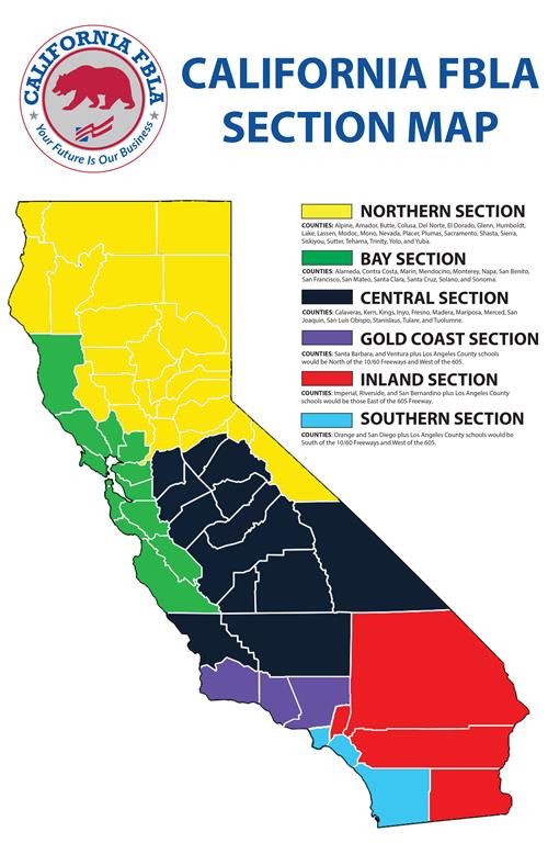 CA FBLA Sections Map